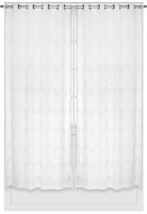 Cortina Bella Janela Duplex 3,00X2,30M Oregon Zigzag Branco