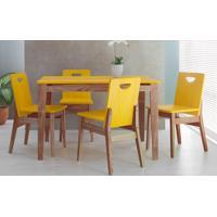0023d50d4 Conjunto De Jantar Com Mesa E 4 Cadeiras Tucupi 120Cm - Acabamento Stain  Nozes E Amarelo