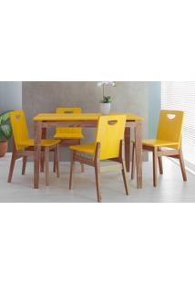 Conjunto De Jantar Com Mesa E 4 Cadeiras Tucupi 120Cm - Acabamento Stain Nozes E Amarelo