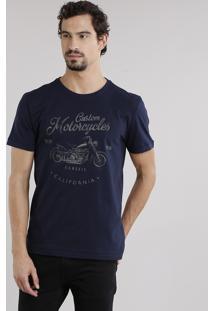 """Camiseta Masculina """"Custom Motorcycles"""" Manga Curta Decote Careca Em Algodão + Sustentável Azul Marinho"""