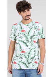 Camiseta Masculina Estampada Tropical Manga Curta Gola Careca Cinza Mescla Claro