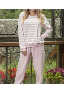 Pijama Flanela Longo Buclê Com Listras Lua Cheia (9089)