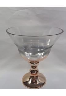 Vaso De Vidro Com Pe Dourado
