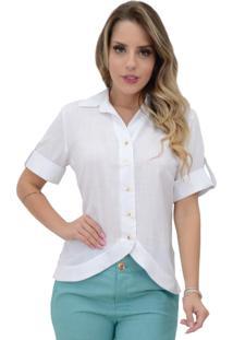 Blusa Mamorena Camisa Frente Arredondada Branco