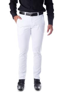 Calça 3037 Sarja Branco Traymon Modelagem Slim