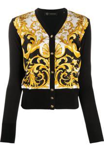Versace Baroque-Print Silk And Cotton-Blend Cardigan - Preto