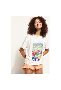 Blusa Feminina Ampla Guarda-Sol Com Bordado Manga Curta Decote Redondo Off White
