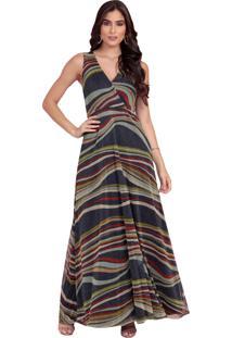 2457ff75d R$ 299,90. Dafiti Vestido Colmeia Longo Lurex Azul