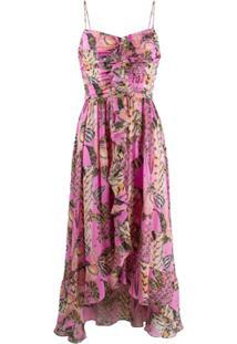 Temperley London Vestido De Seda Com Babados - Rosa
