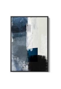 Quadro 60X40Cm Abstrato Textura Geruzak Moldura Flutuante Filete Preta Oppen House