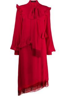 Rokh Vestido Com Laço Na Gola - Vermelho