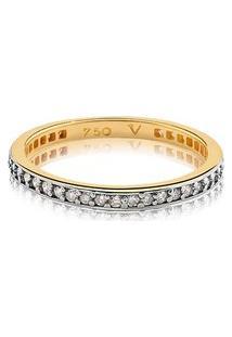 Meia Aliança Ouro Amarelo Com 29 Pontos De Diamantes