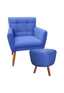 Combo Poltrona Decorativa Onix Mais Puff Redondo Suede Azul Marinho - Ds Móveis
