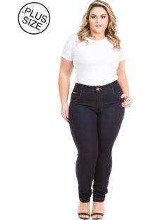 Calça Jeans Plus Size - Confidencial Extra Cigarrete Com Elastano Azul Marinho
