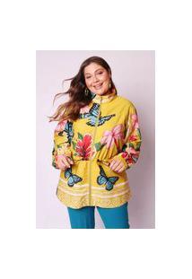 Jaqueta Almaria Plus Size Munny Parka Estampada Amarelo