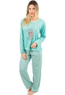 Pijama Bella Fiore Modas Longo Fran Verde Água