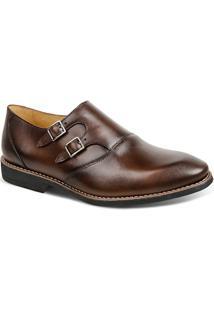 Sapato Masculino Linha Premium Monk Strap Sandro Moscoloni 16200 Marrom Escuro