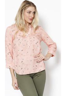 Blusa Com Botões- Rosa Claro & Marrom- Vip Reservavip Reserva