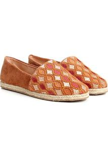 Alpargata Couro Shoestock Espadrille Bordada Feminina