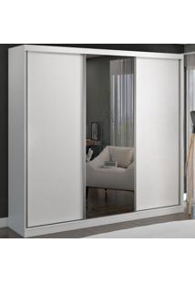Guarda-Roupa Casal 3 Portas De Correr 1 Espelho 100% Mdf 8804E1 Branco - Foscarini