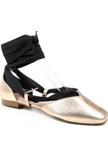 Sapatilha Couro Shoestock Lace Up Feminina - Feminino-Dourado