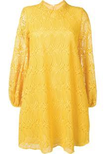 Giamba Vestido Godê Com Renda - Amarelo