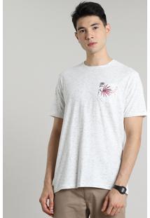 Camiseta Masculina Com Bolso Estampado De Folhagem Manga Curta Gola Careca Off White