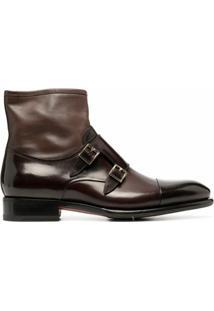 Santoni Ankle Boot Com Tira Dupla - Marrom