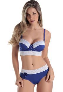 Conjunto De Lingerie Em Microfibra - Feminino-Azul Royal