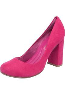 Scarpin Di Cristalli Salto Grosso Bico Redondo Rosa