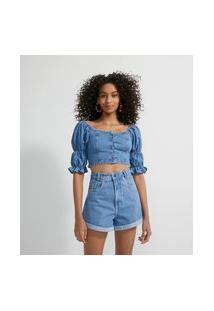 Blusa Cropped Jeans Com Botões Forrados E Lastex Nas Costas