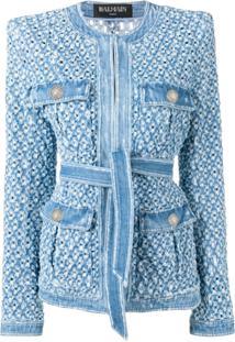 Balmain Jaqueta Jeans Com Detalhes Perfurados - Azul