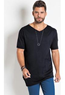 Camiseta Actual Preta Long Line Assimétrica