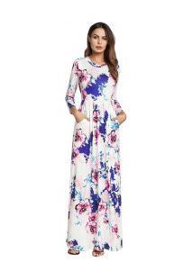 Vestido Longo Estampado Floral Com Bolsos Manga Longa - Branco