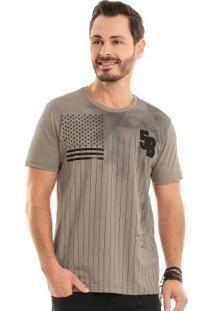 Camiseta Com Bordado Bege Bgo