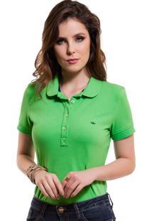 0b1f7112cc ... Camisa Pólo Feminina Verde Principessa Ariel