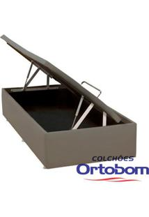 Box Solteiro Com Baú - Corino Crema - Ortobom