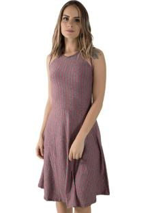 Vestido Diluxo Tule Listrado Cinza/Vermelho