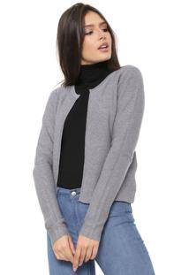 Cardigan Facinelli By Mooncity Tricot Lurex Cinza