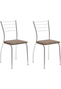 Conjunto Com 2 Cadeiras Lucineia Conhaque E Cromado