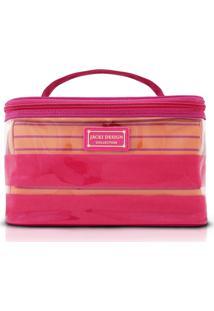 Kit Necessaire 2 Em 1 Tamanho G Listrada Jacki Design Felicita Pink - Kanui