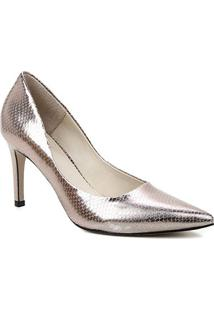 Scarpin Couro Shoestock Salto Alto Graciela Snake - Feminino-Prata