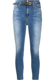 Pinko Calça Jeans Skinny Cropped Com Logo E Cinto - Azul