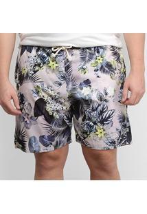 Short Gajang Floral Plus Size Masculino - Masculino-Roxo