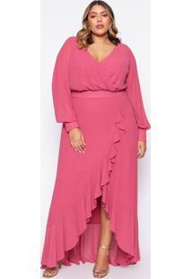 Vestido Almaria Plus Size Pianeta Chiffon Rosa