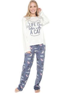 Pijama Any Any Life Cat Branco/Azul