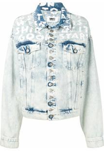 Mm6 Maison Margiela Jaqueta Jeans Estampada - Azul