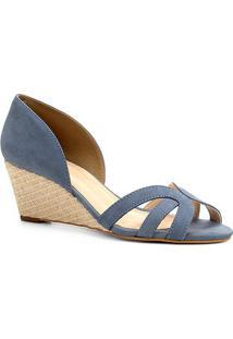 Peep Toe Couro Shoestock Anabela Tiras - Feminino