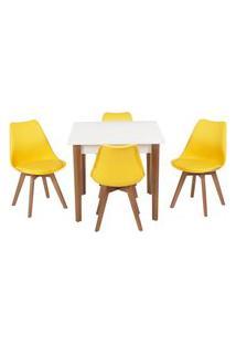 Conjunto Mesa De Jantar Luiza 80Cm Branca Com 4 Cadeiras Leda - Amarelo