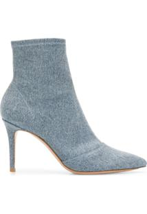 Gianvito Rossi Stonewashed Denim Ankle Boots - Azul